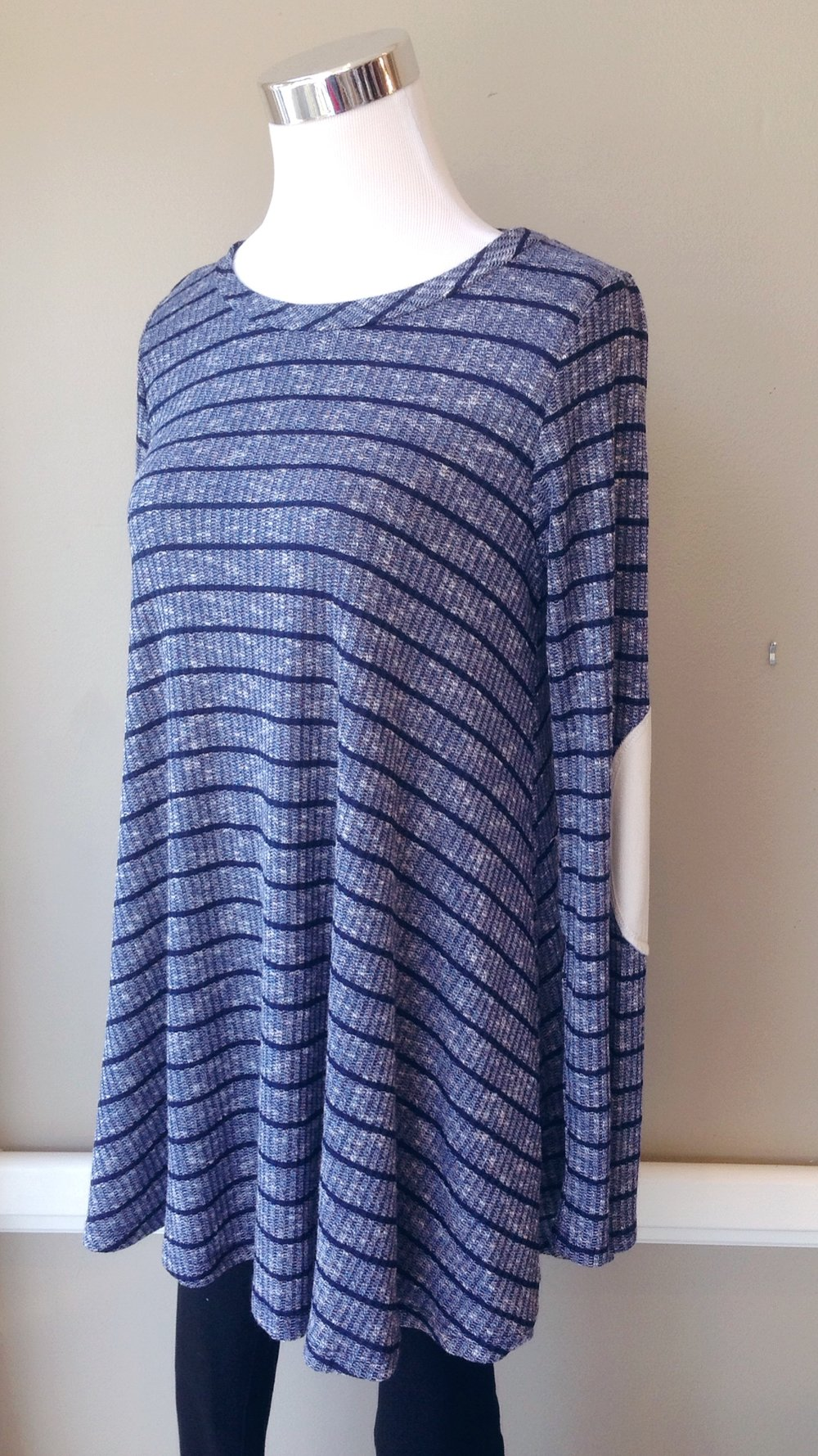 Rib knit swing top with elbow patches in heather navy stripe, $34