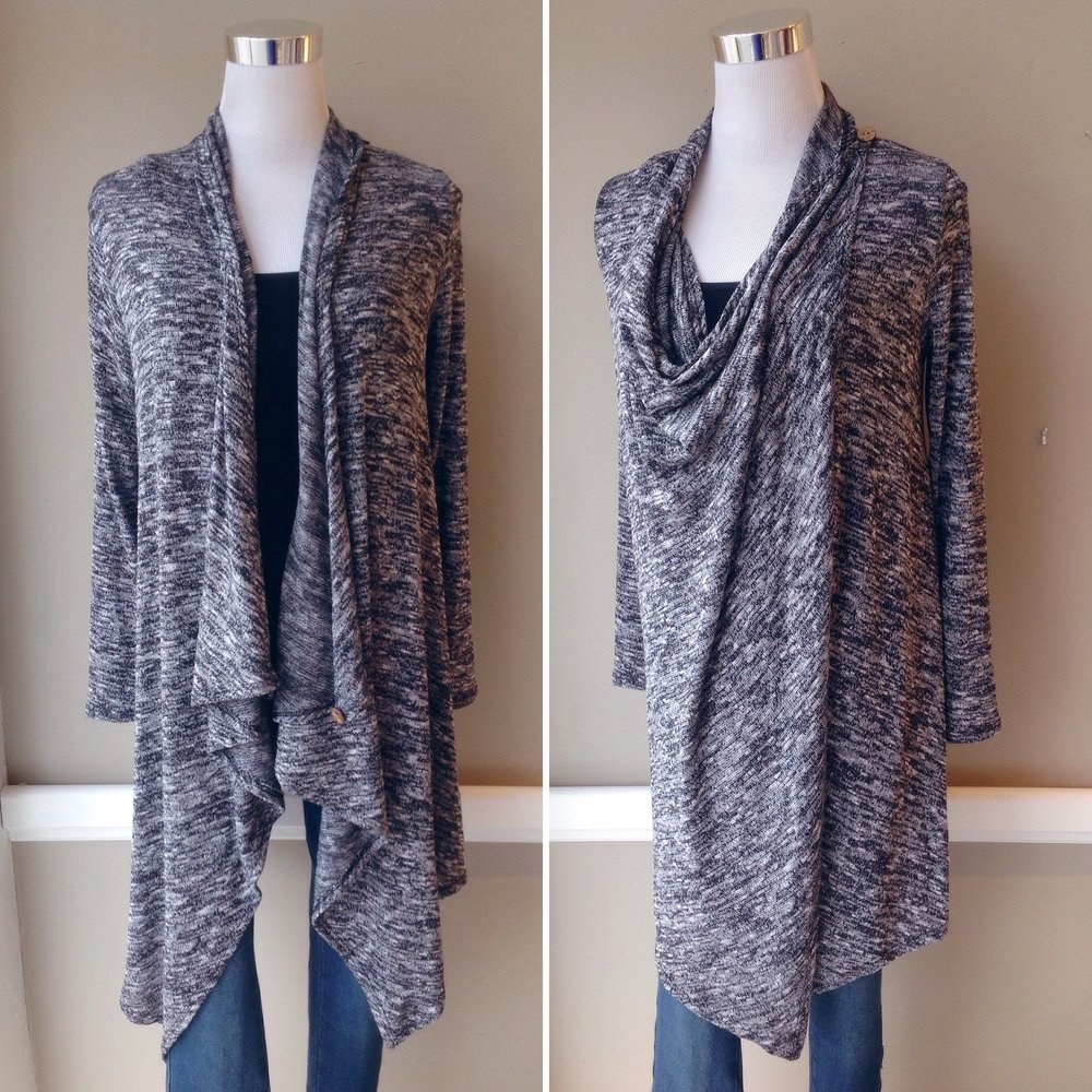 Long draped cardigan with shoulder button closures in black/white/grey, $38