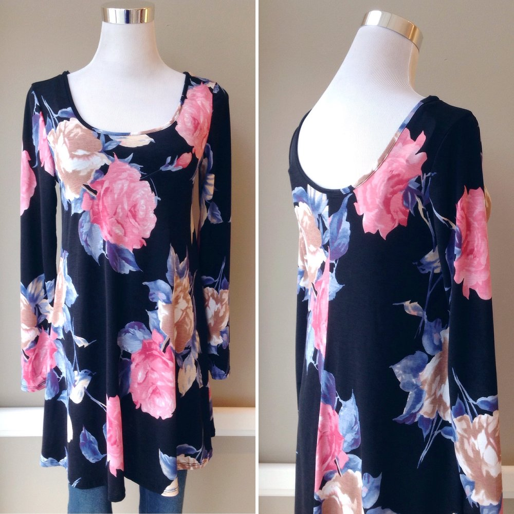 Scoop neck tunic with bold floral print in black/multi, $35