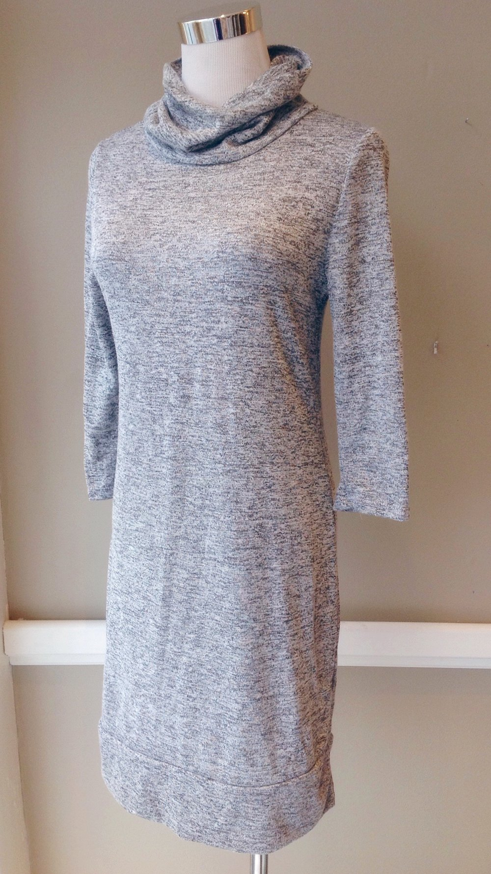 Lightweight knit dress with turtleneck and 3/4 sleeves in heather grey, $35