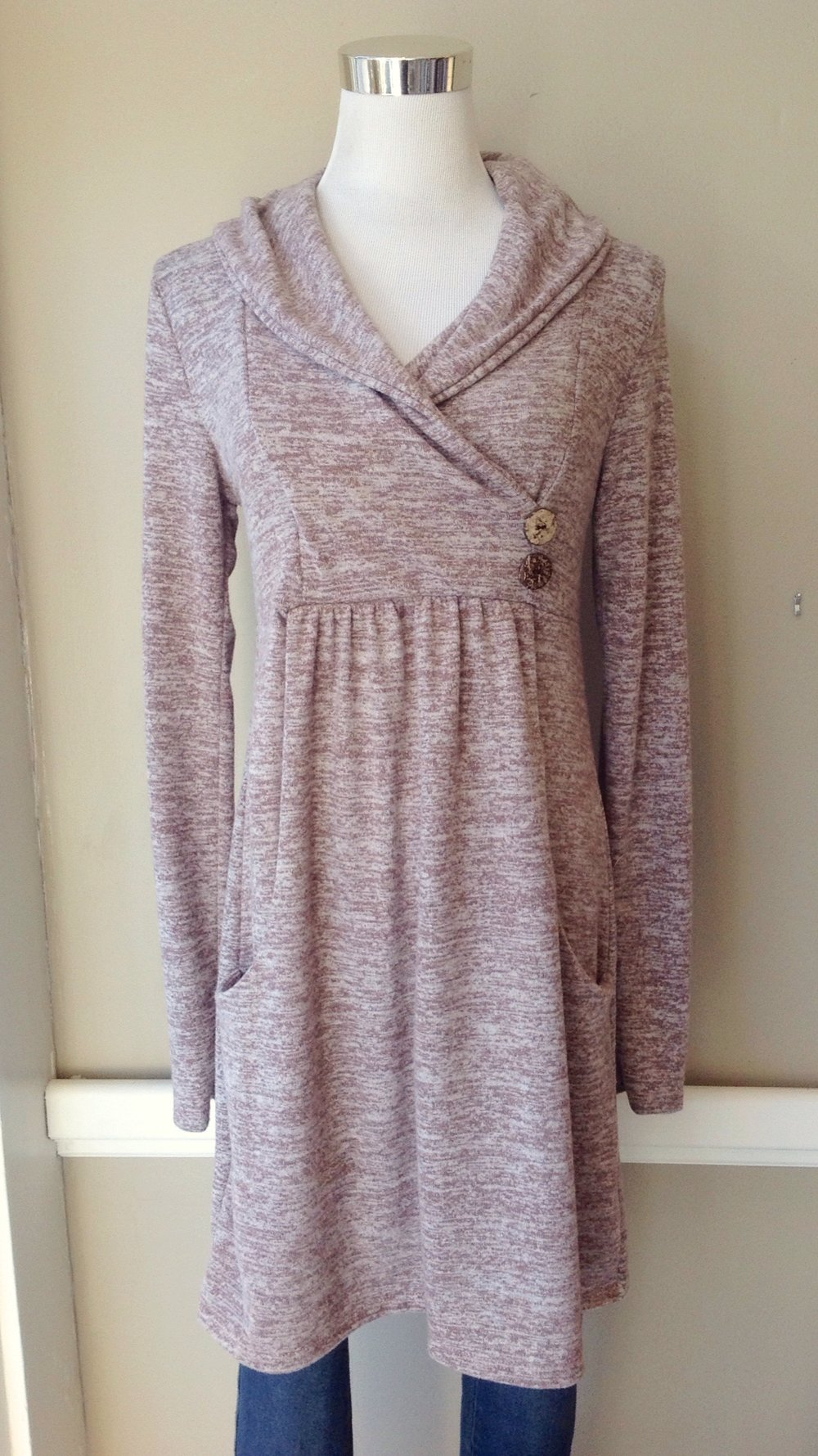 Heathered knit tunic top with gathered empire waist, shawl collar and side pockets, $38