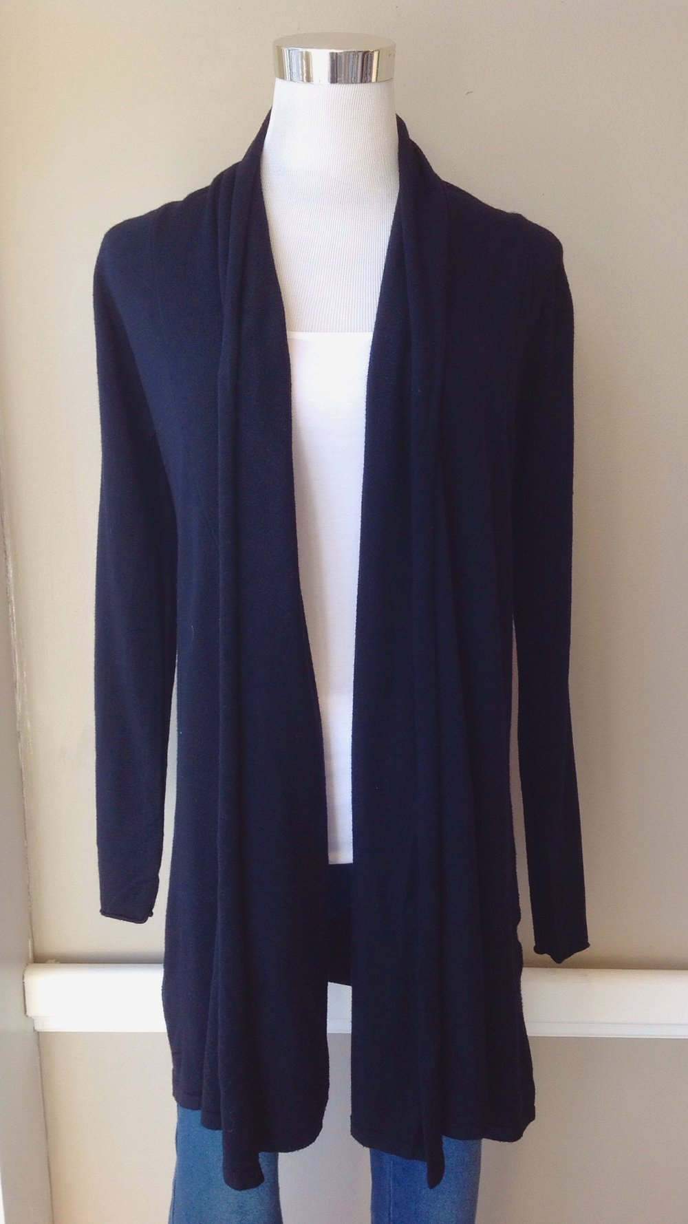 Ultra soft swing cardigan in black. $38