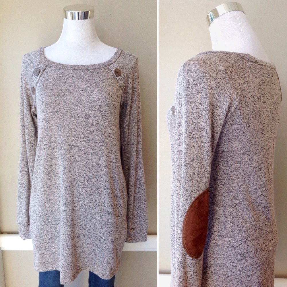 Long sleeve sweater top with button detail and elbow patches in mocha, $35