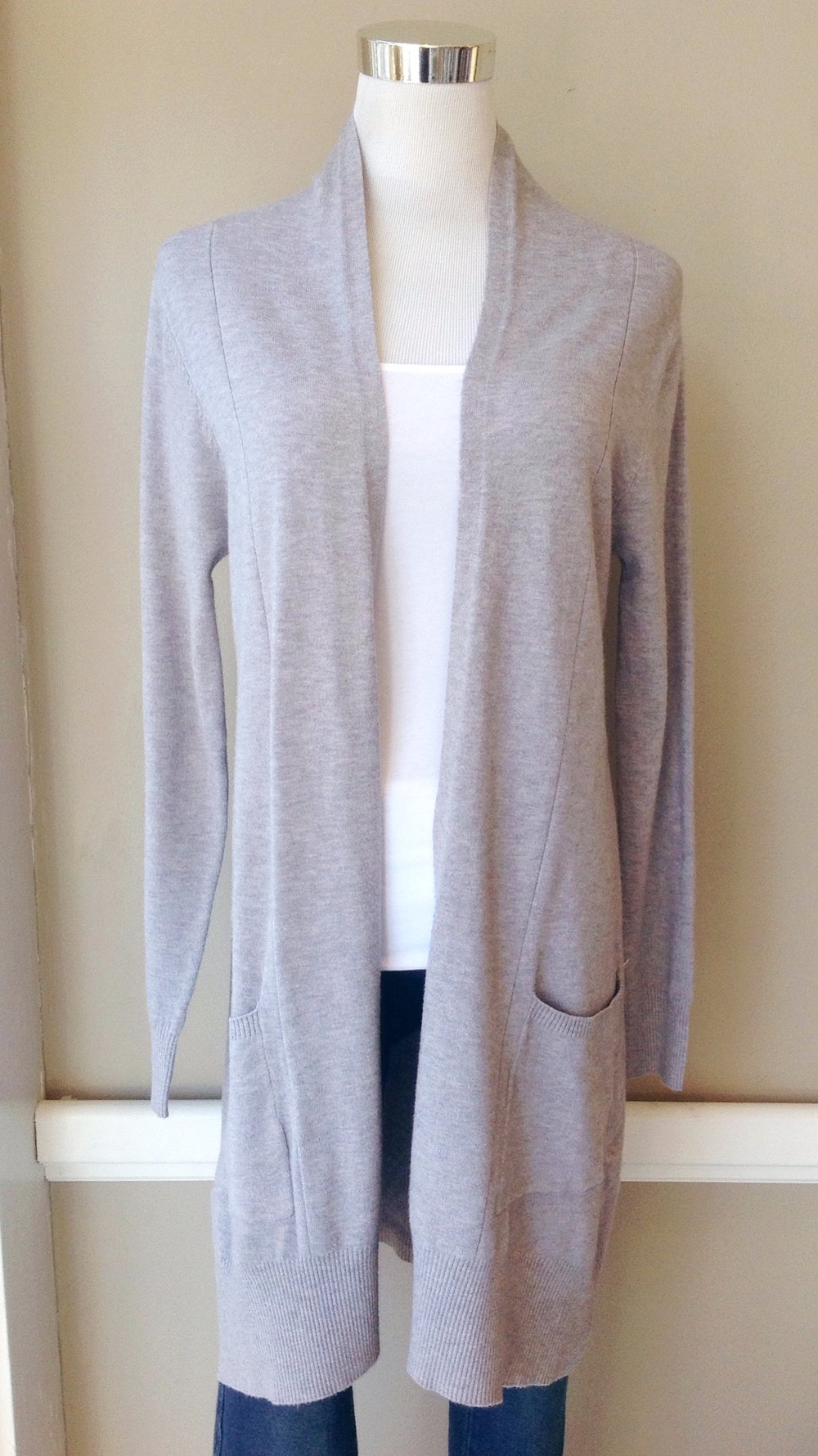 Ultra soft knit cardigan with patch pockets in heather grey, $42