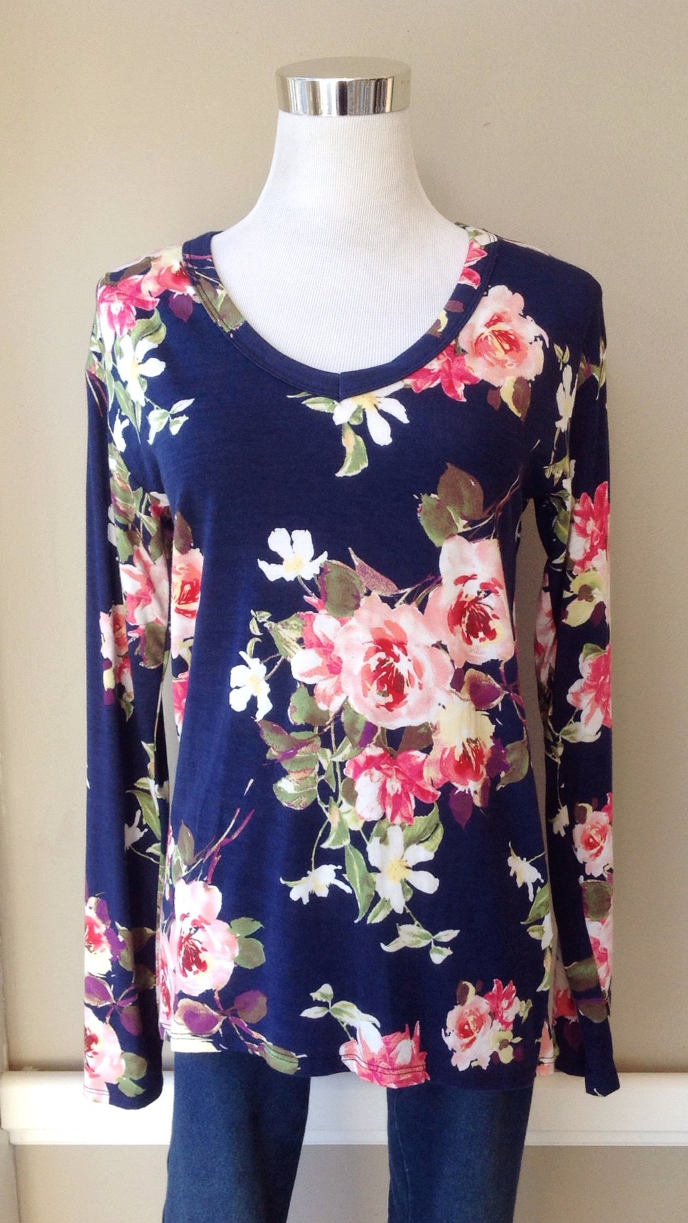 Floral print top in navy/multi, $32
