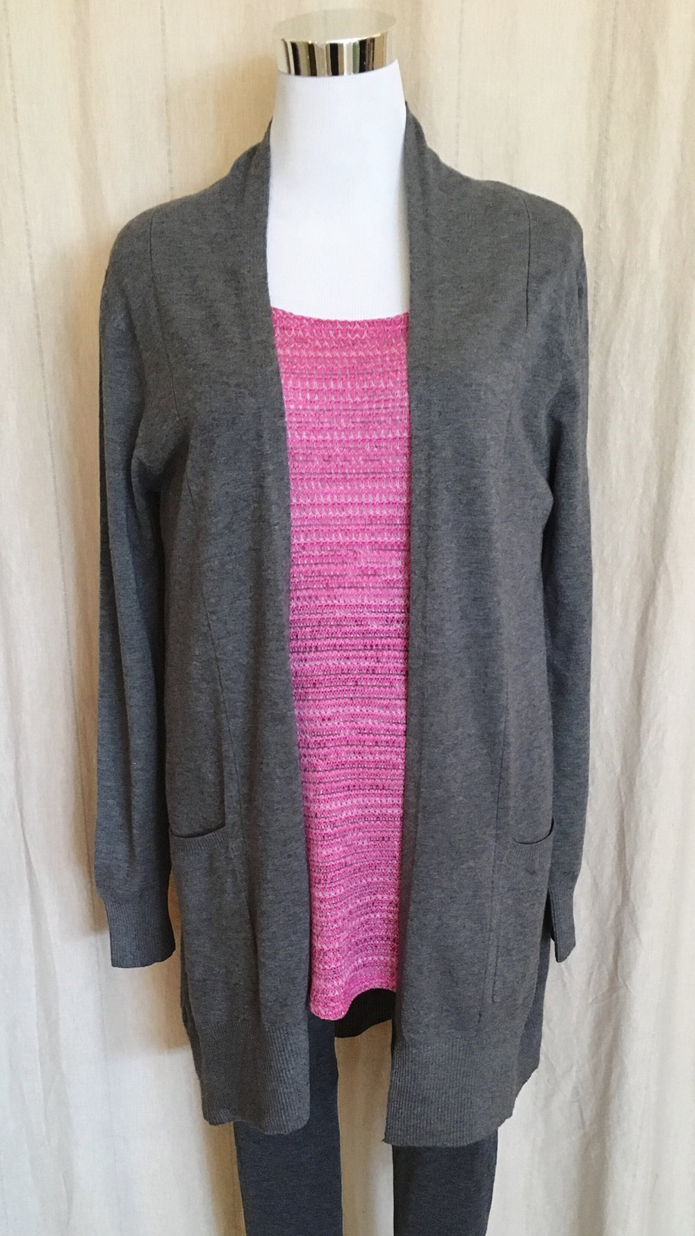 Dreamers open cardigan in grey and black. $42