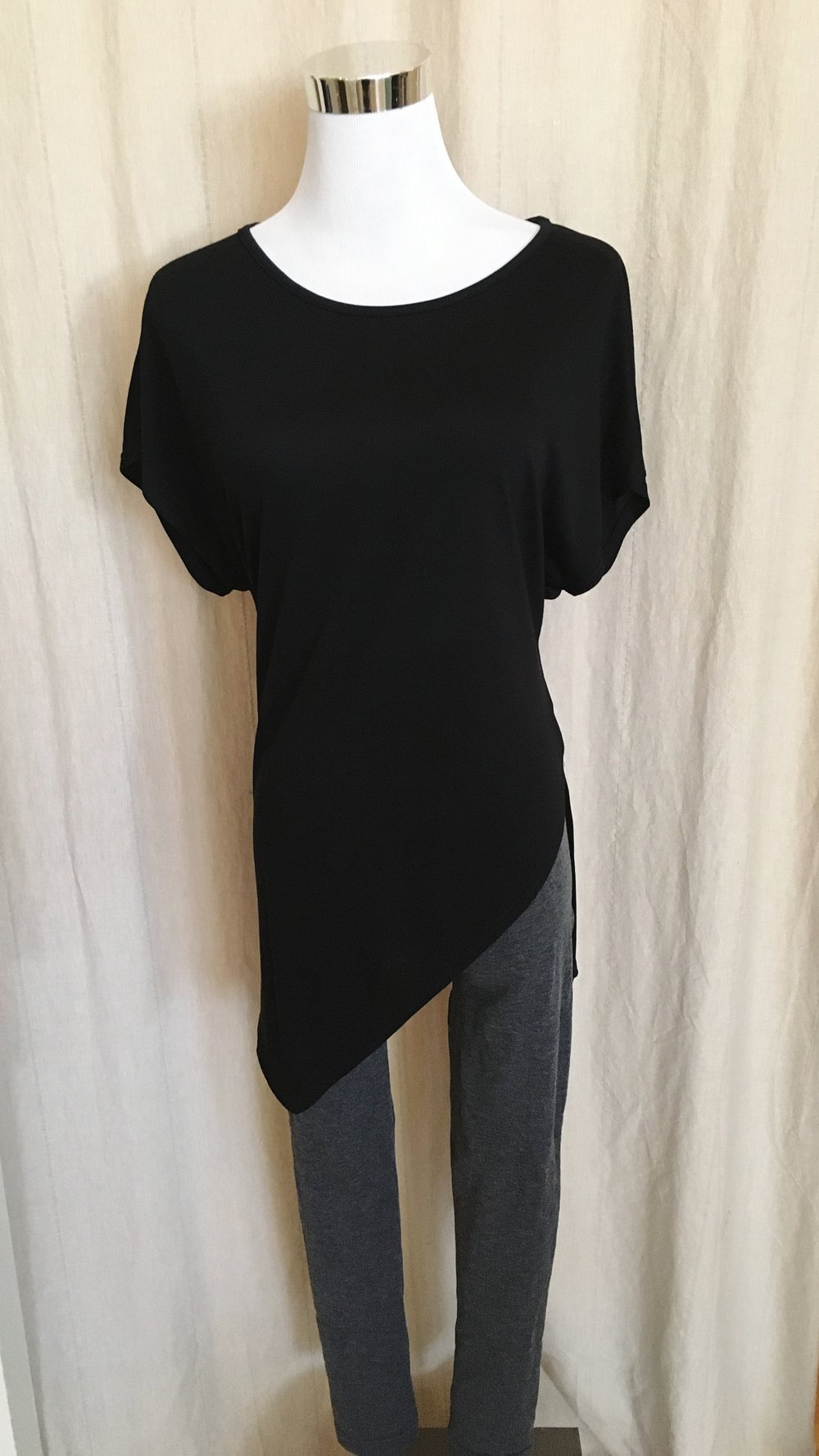 Asymmetrical fun tee in black and grey $28