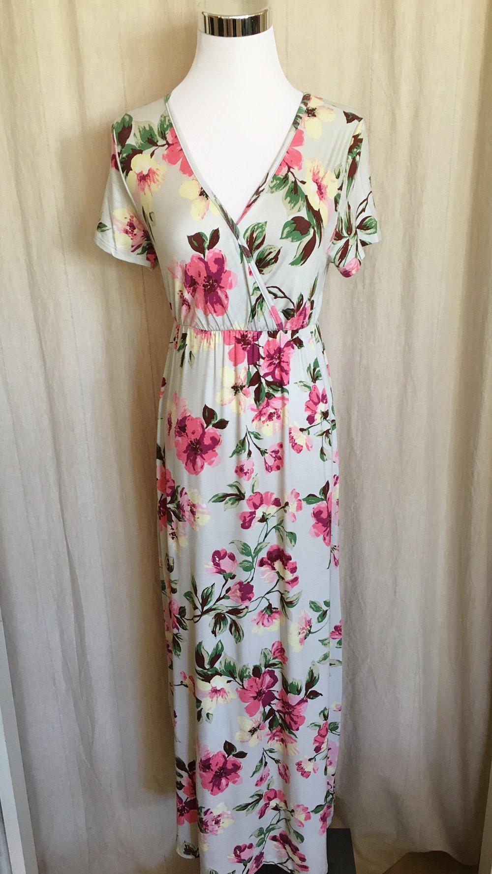Sage floral maxi dress. $48