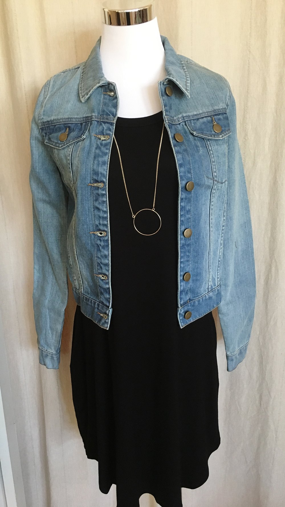 Slim fitting denim jacket.  $48