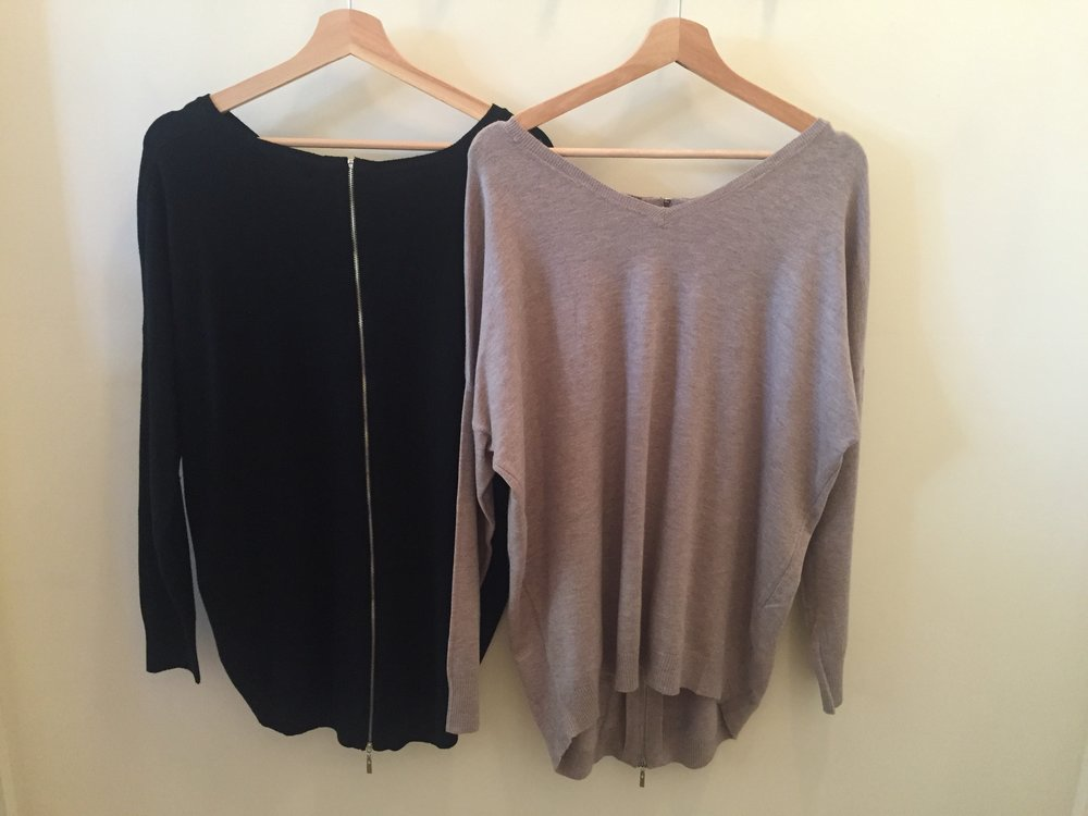 Zip-Back Dreamers Sweaters, $42