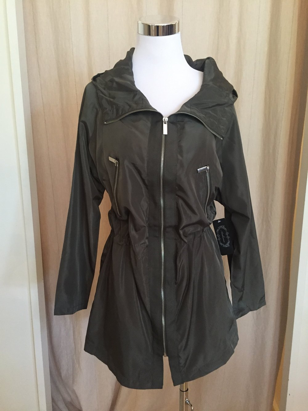 Olive Rain Coat (also in black!), $45