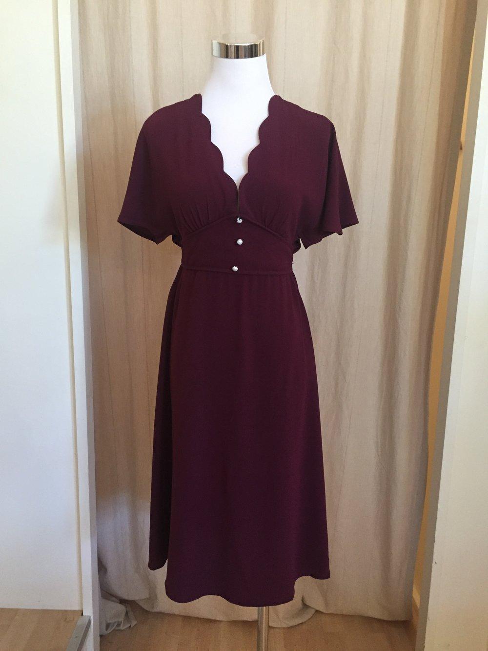 Scallop Edge Burgundy Dress, $38