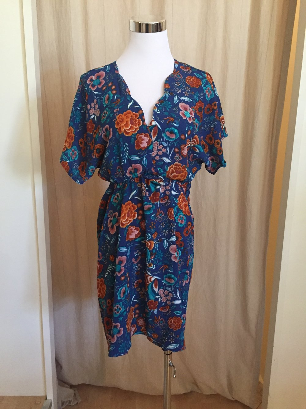 Cool Blue and Rust Floral Dress, $35