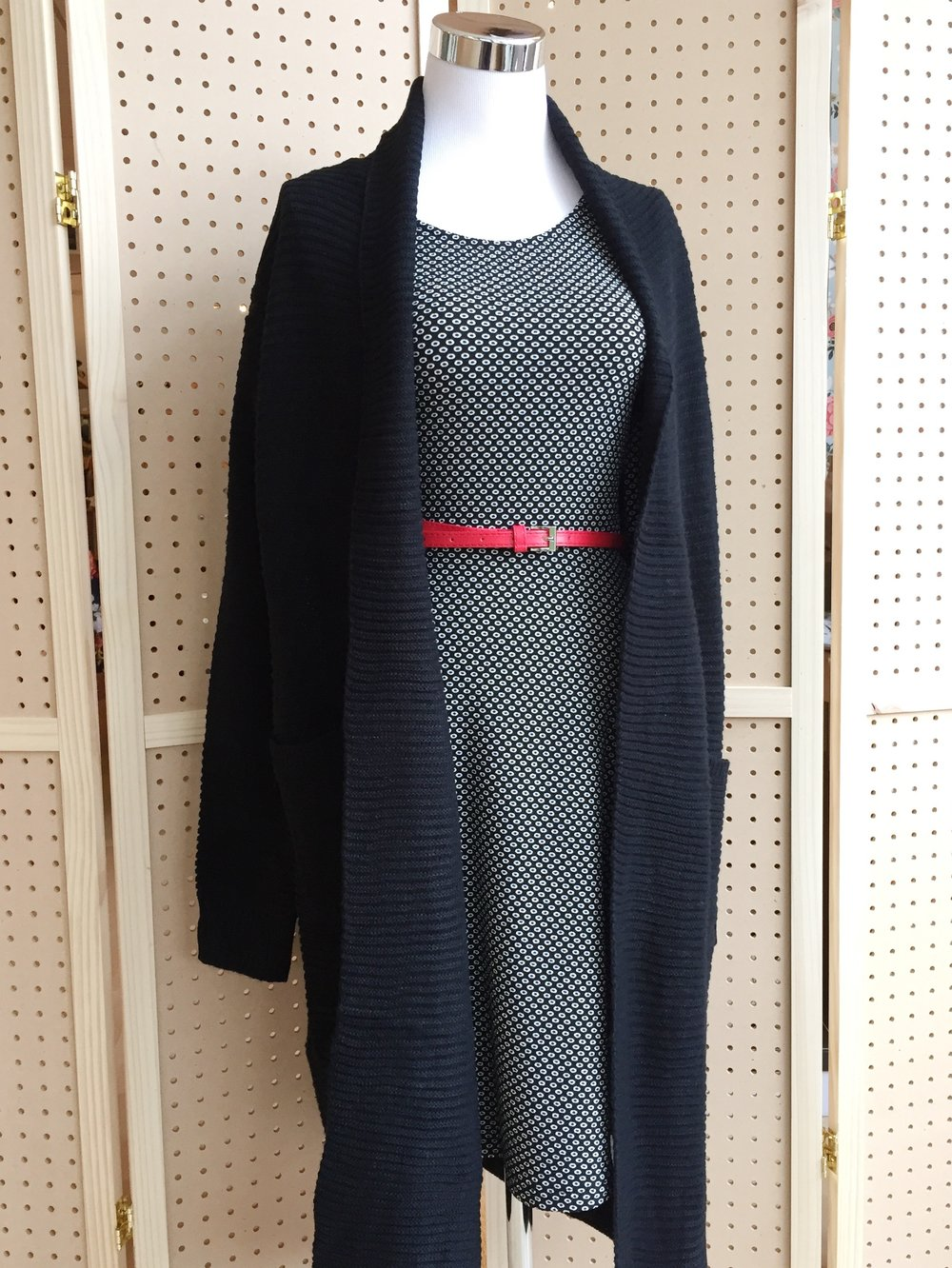 Gilli Belted Dress ($45) paired with Hailey & Co Chunky Cardi ($54)