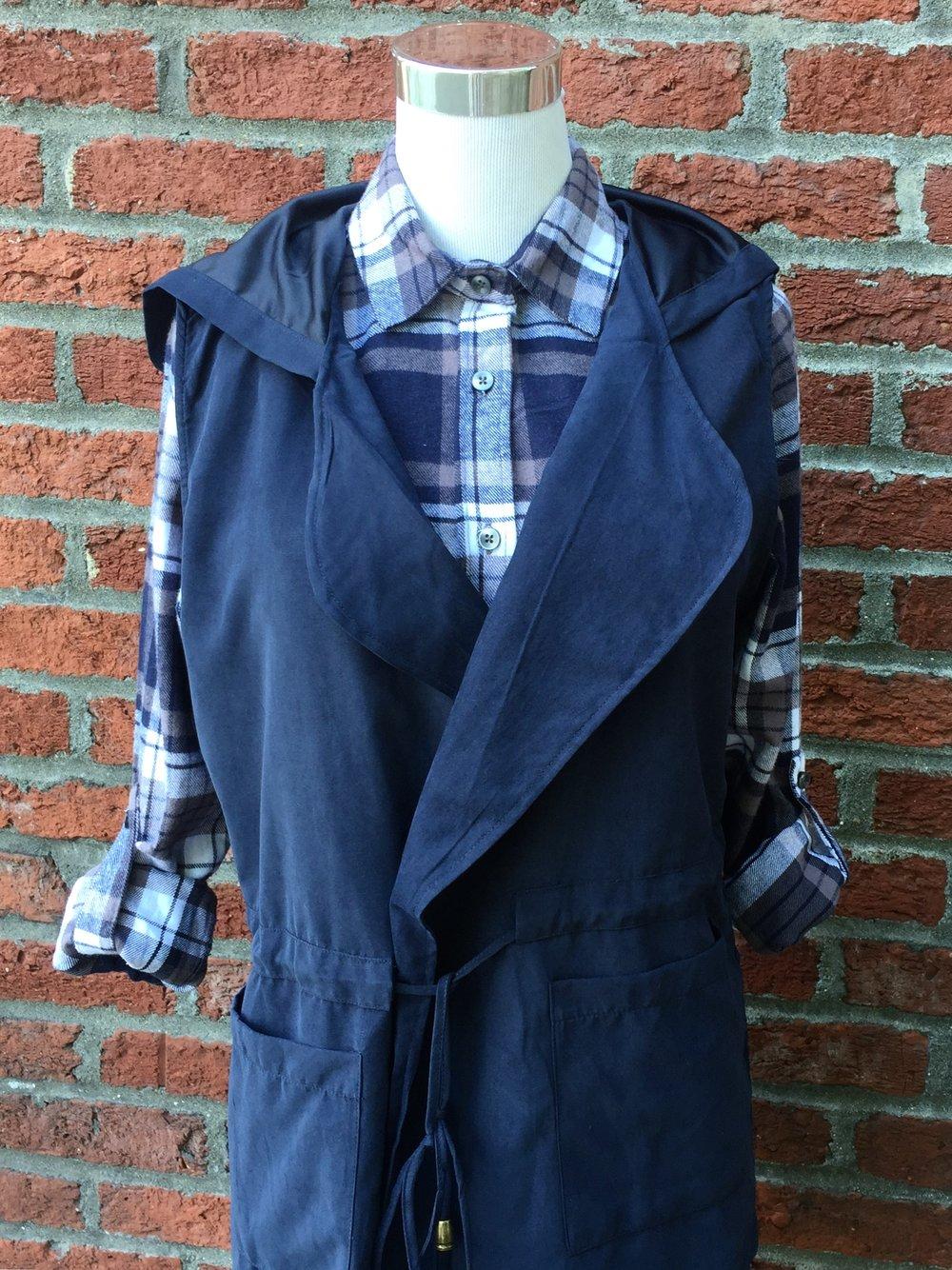Navy Vest with Hood ($35)