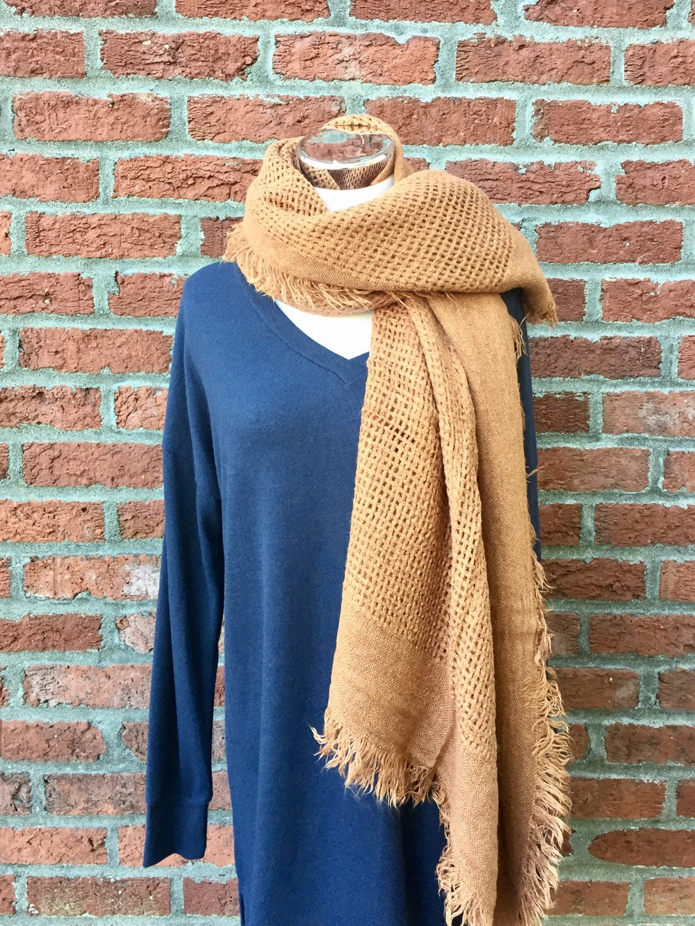 Reb + J Sweater ($32) with Orange Scarf ($21)