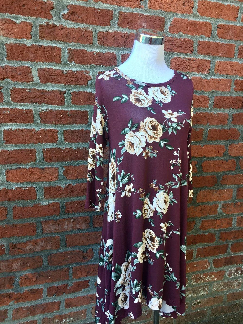 Burgundy Floral Dress ($38)