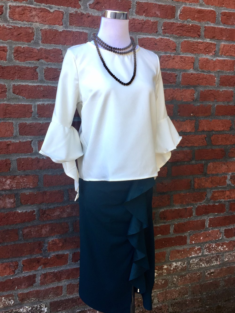 Bell Sleeve Blouse ($32) w/ Emerald Skirt ($34)