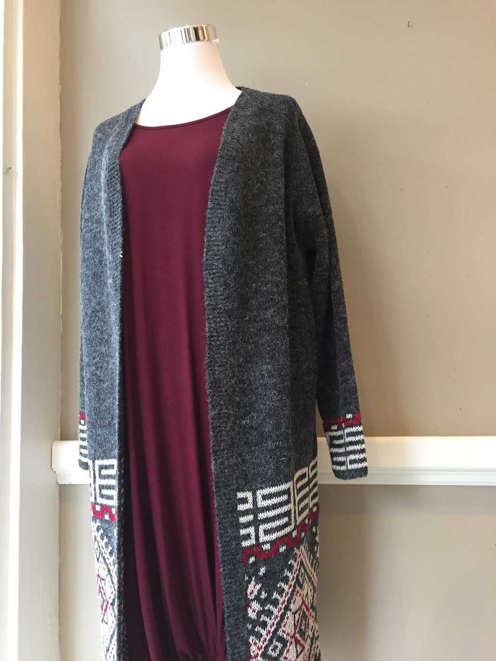 Charcoal and red duster ($45)
