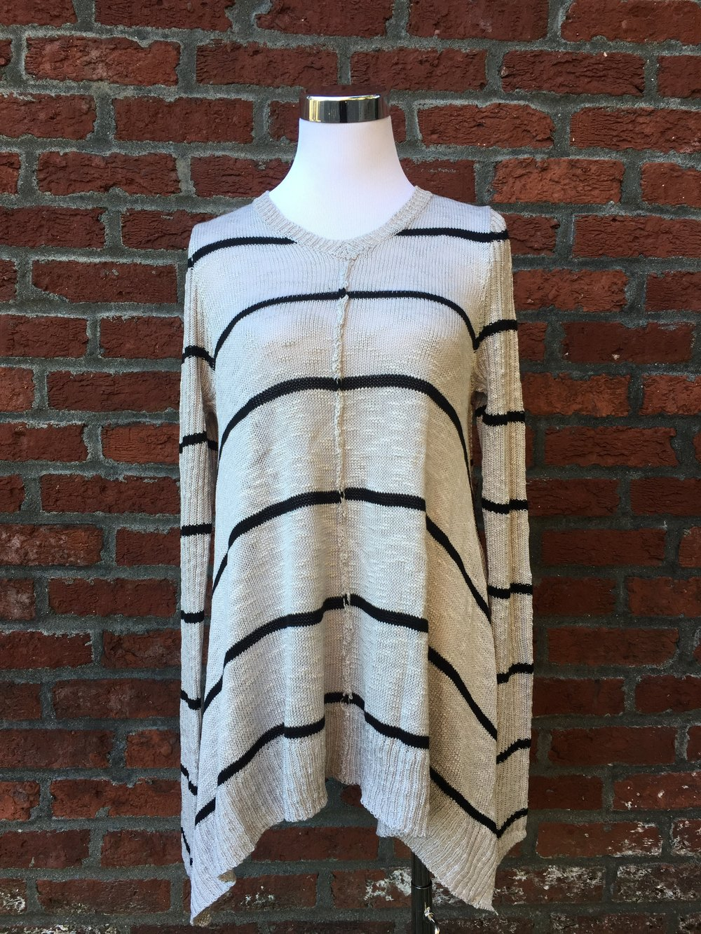 Fun Hem Striped Sweater ($45 Grey and White)