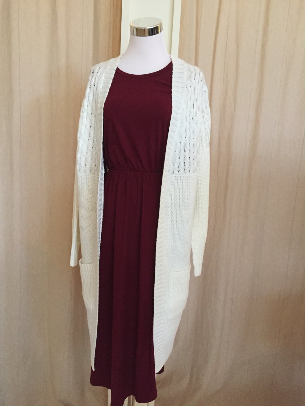 Chunky knit cardi ($45 salmon, grey, white)