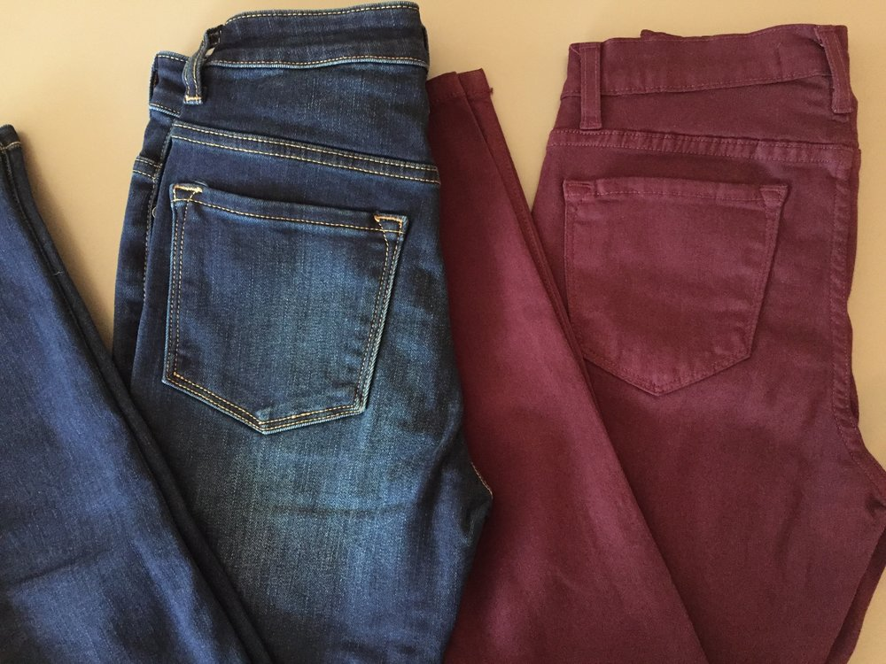 Kancan Highwaisted Jeans ($52 dark denim and burgundy)