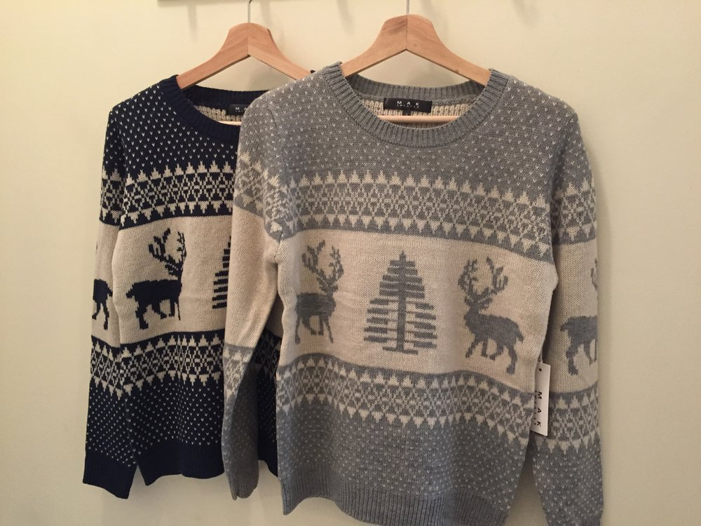 Holiday Sweater ($35 Red, Grey, and Navy)