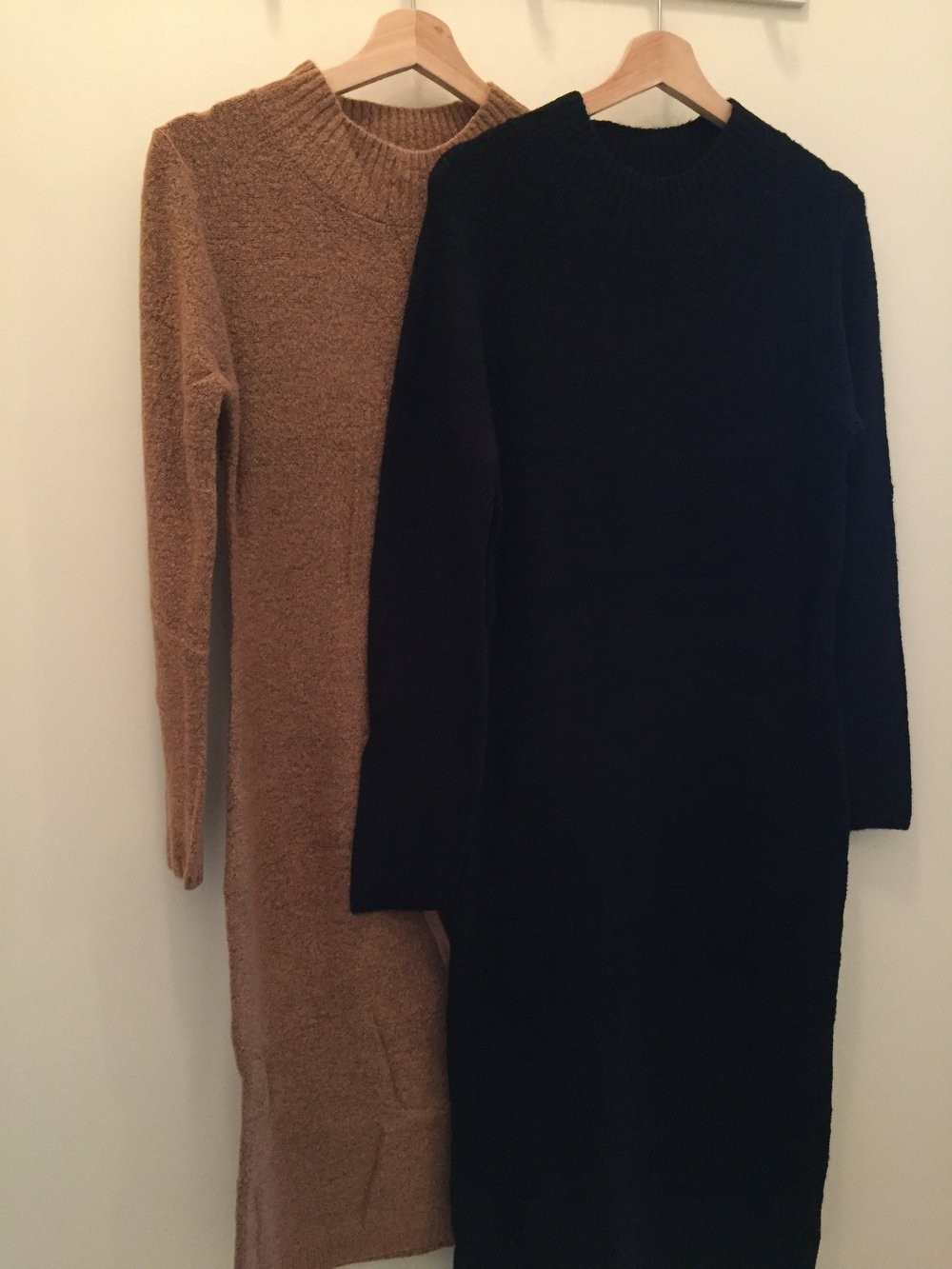 Mock Neck Sweater Dress ($42 Red, Camel, and Black)