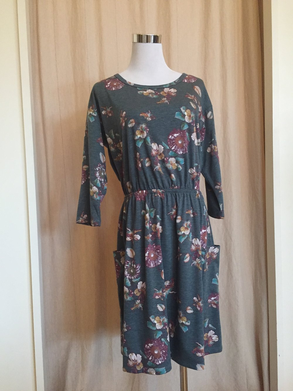 Blue Floral Dress w/Pockets ($45)