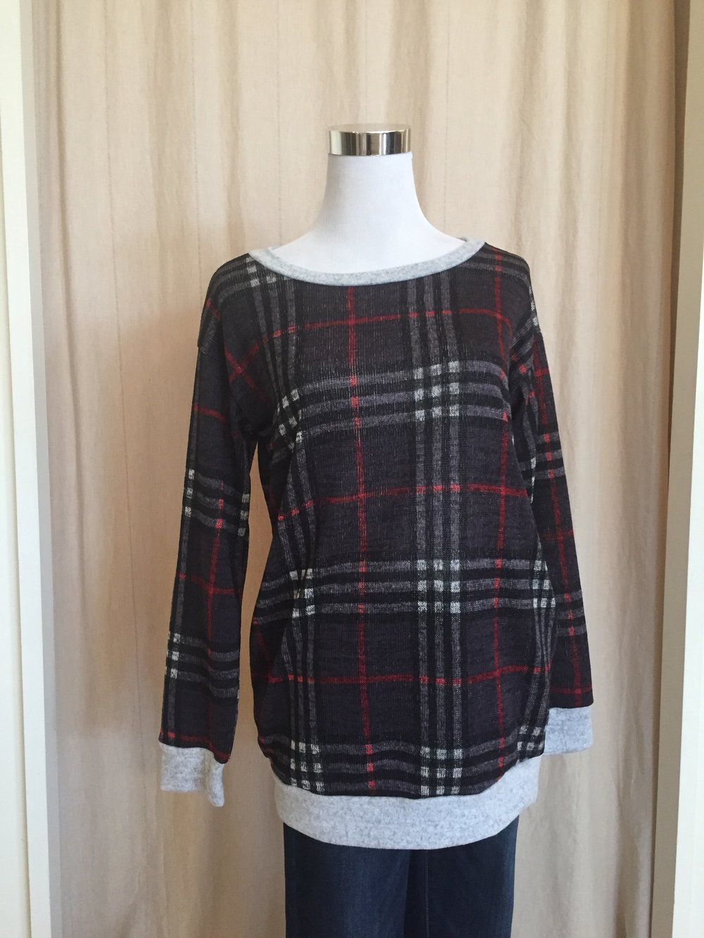 White Birch Plaid Top (Light and Dark Grey $32)