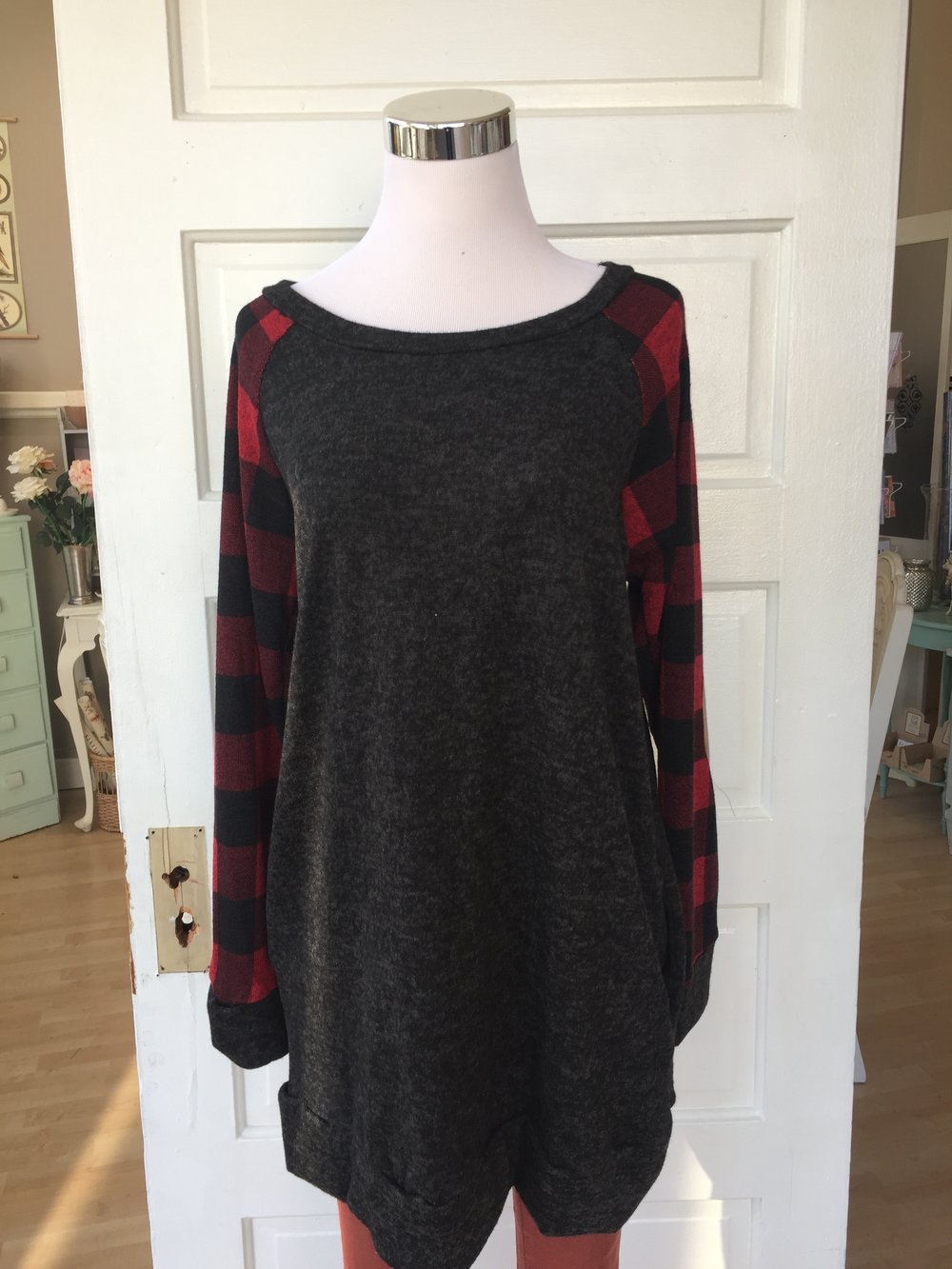 Plaid Sleeve Tunic $38
