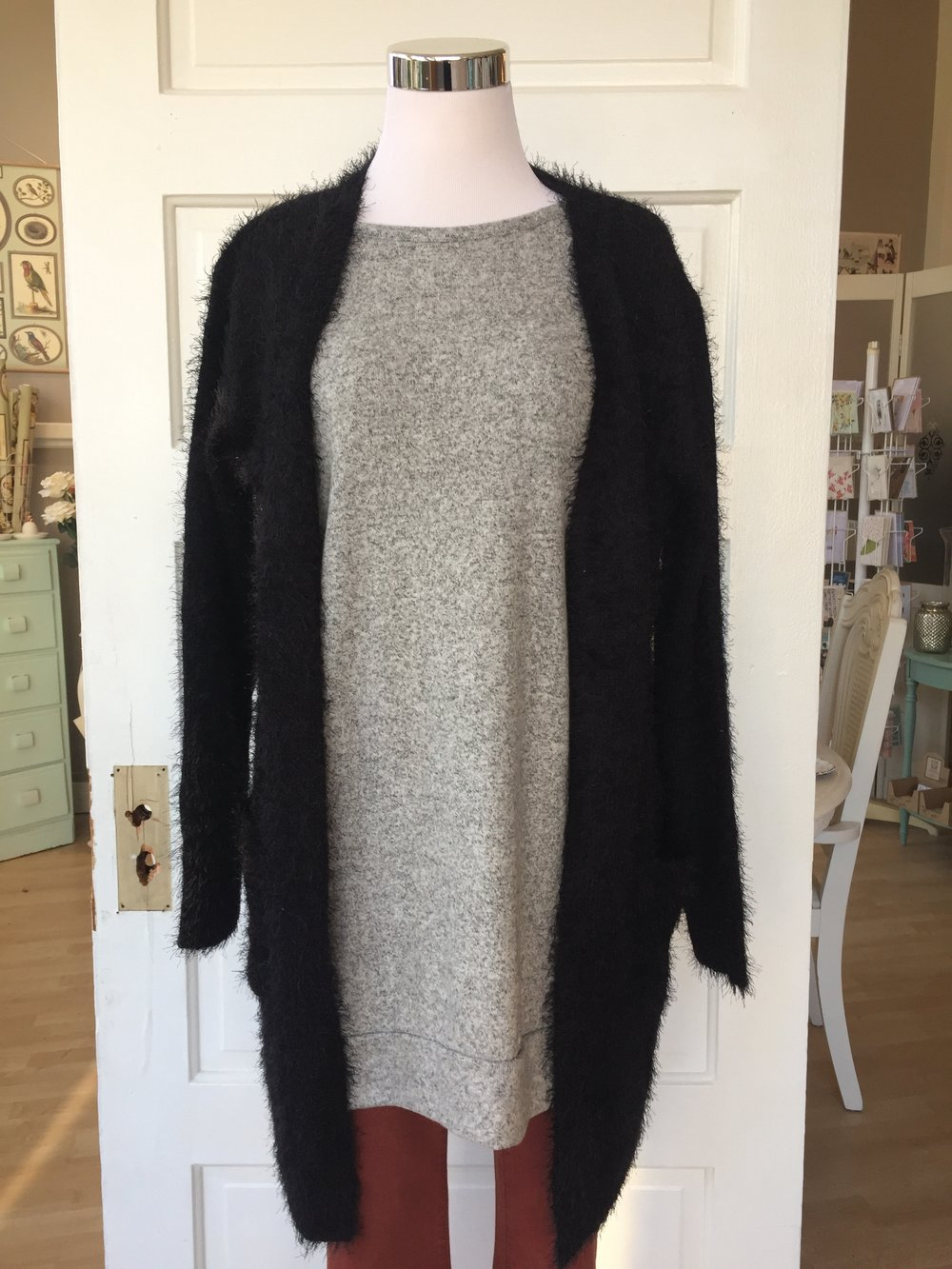 Black Fuzzy Sweater $42