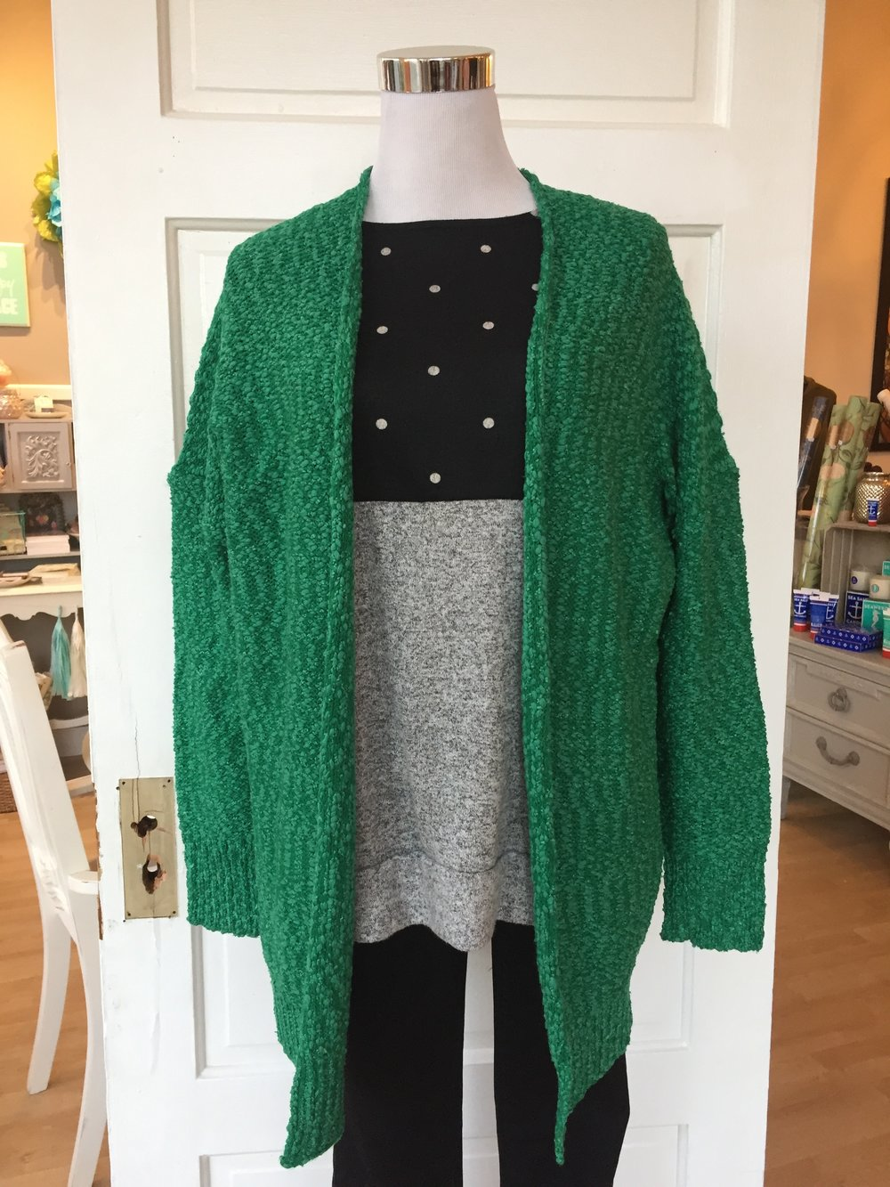 Kelly Green Boucle Cardi