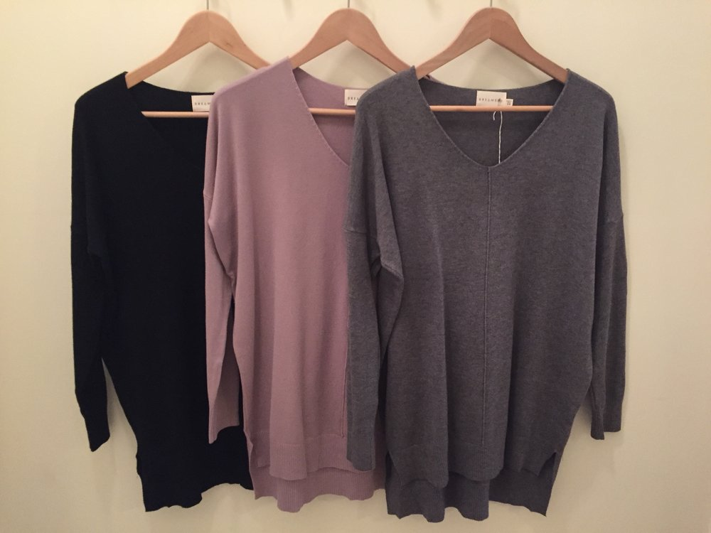 Dreamers V Neck $42 (Black, Light Plum, and Grey In Stock!)
