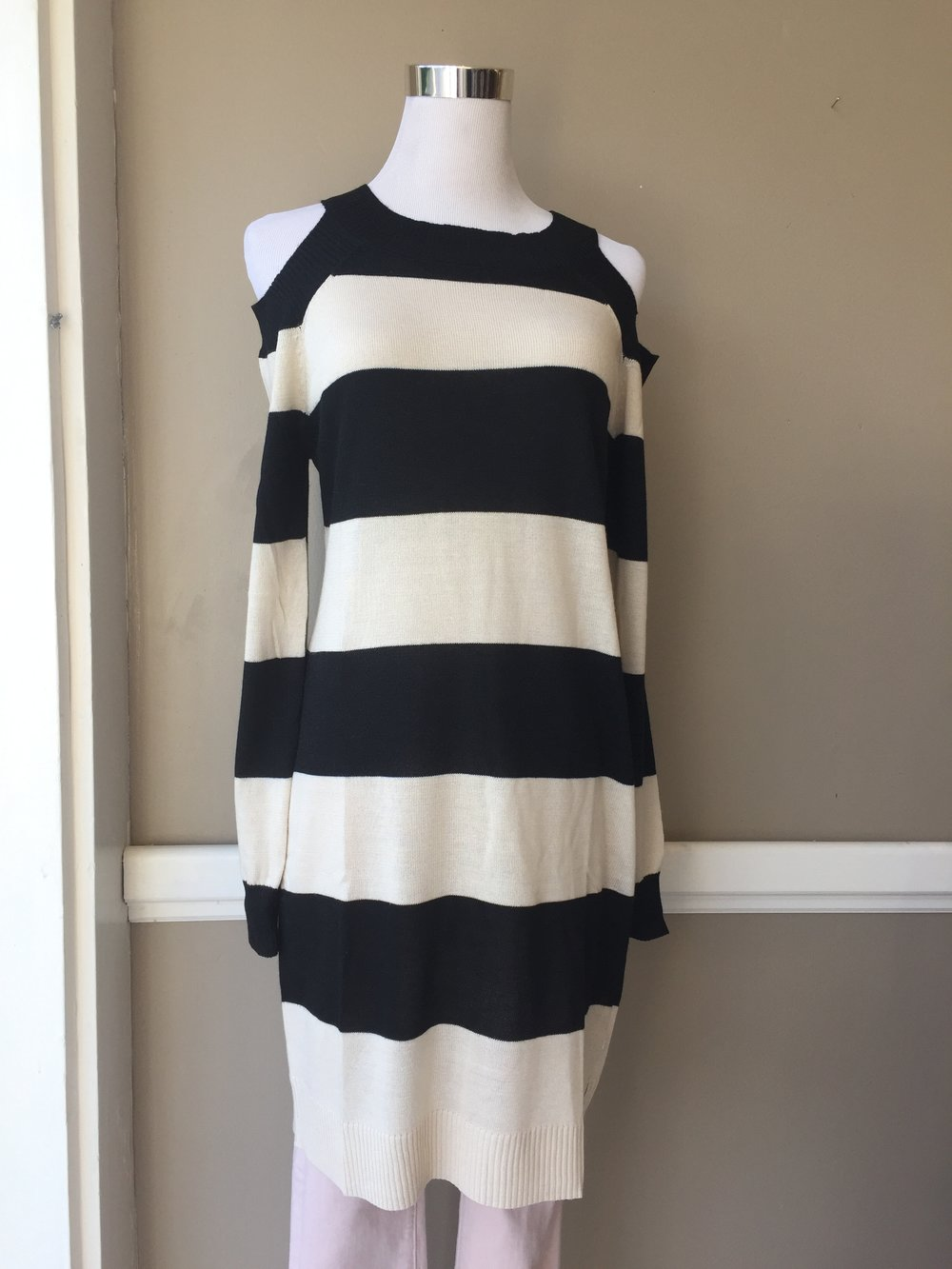 B&W Cold Shoulder Dress $40