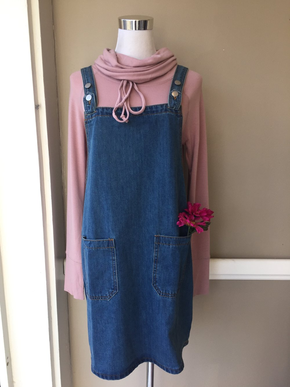 Denim Jumper $45, Staccato Rose Cowl $38