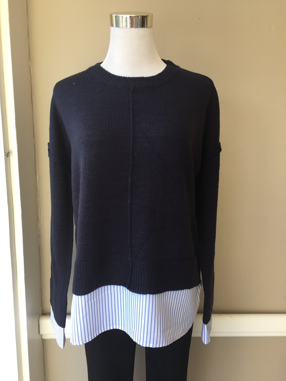 Navy Sweater w/ Stripe Detail $38