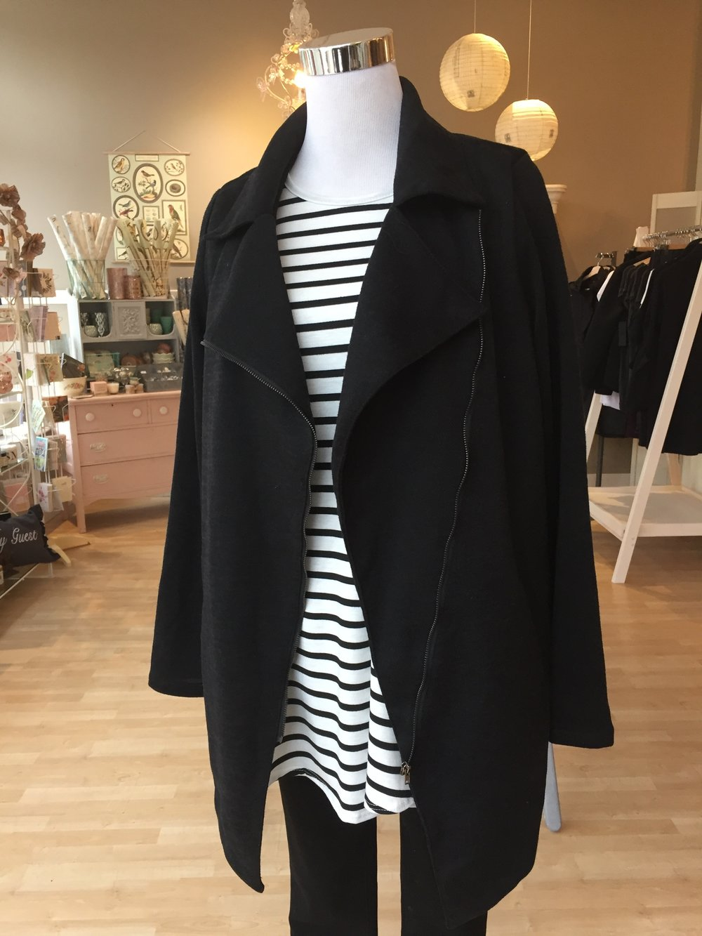 Asymmetrical Black Coat $48