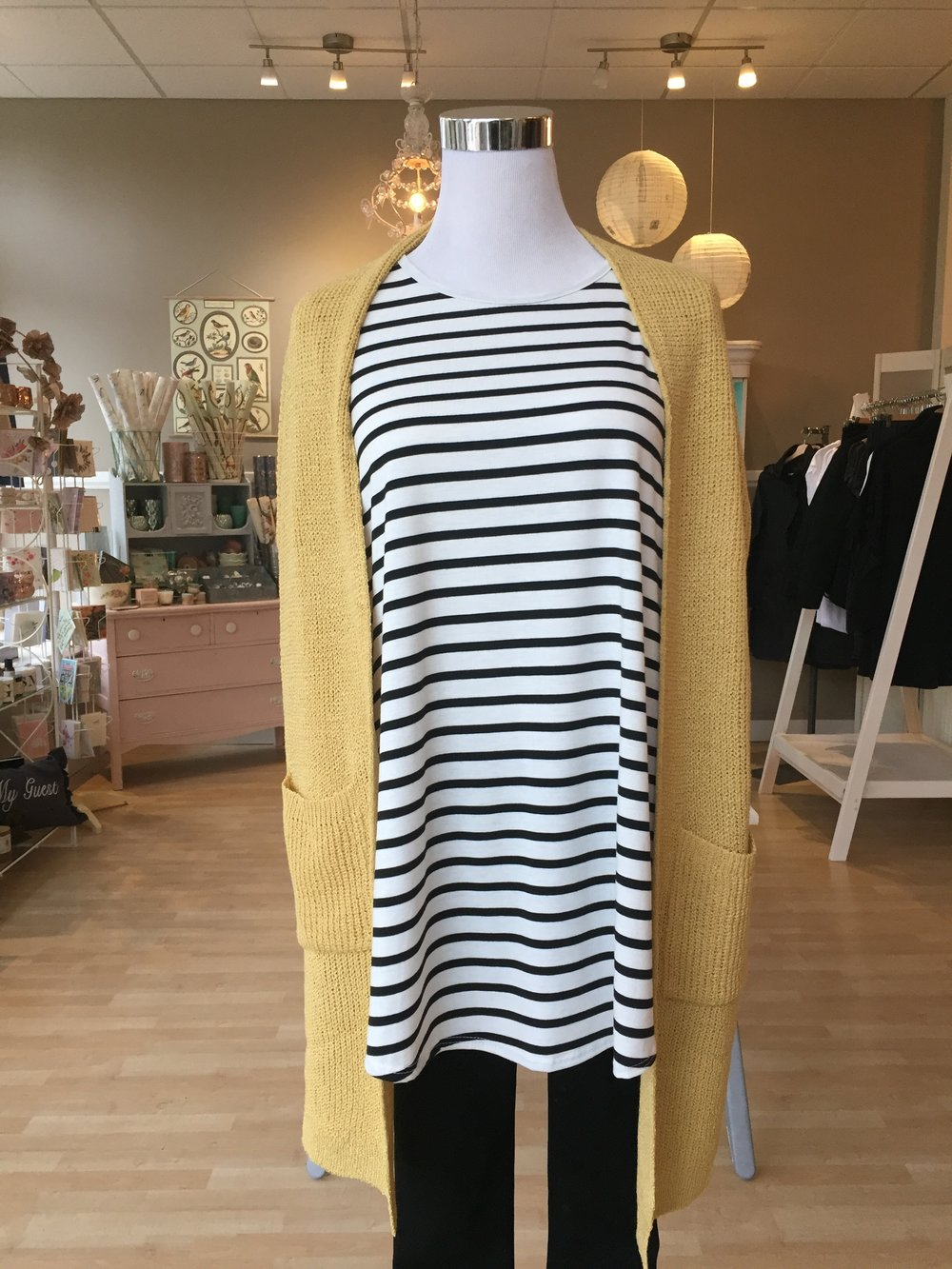 Yellow Open Cardigan $45