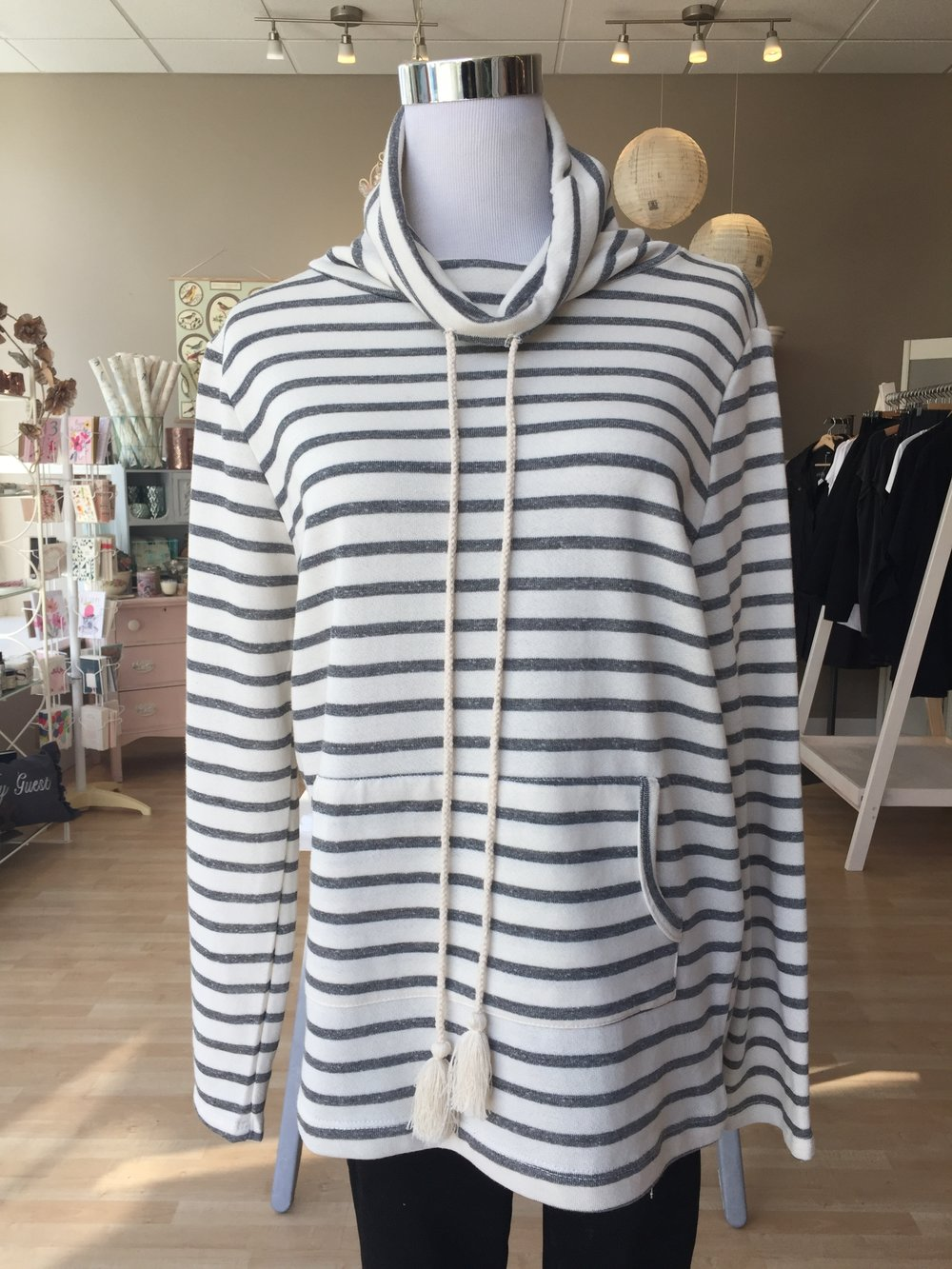 Striped Cowl Neck $38