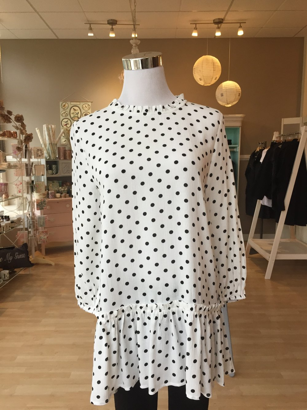 High Neck Polka Dot Top