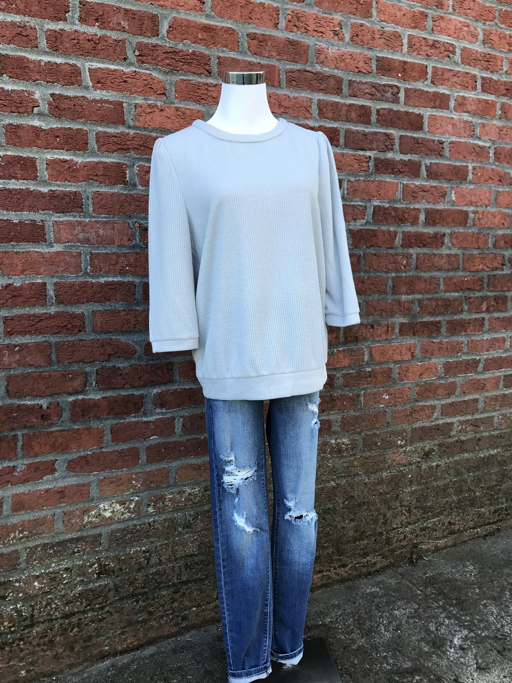 Soft grey top with fun split back.