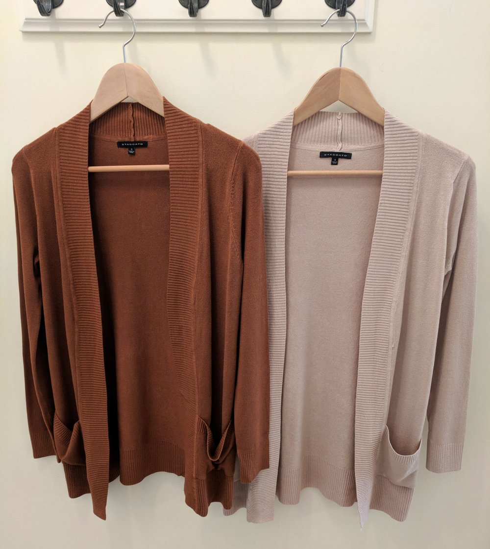 Clay and Taupe Staccato Cardigan $34