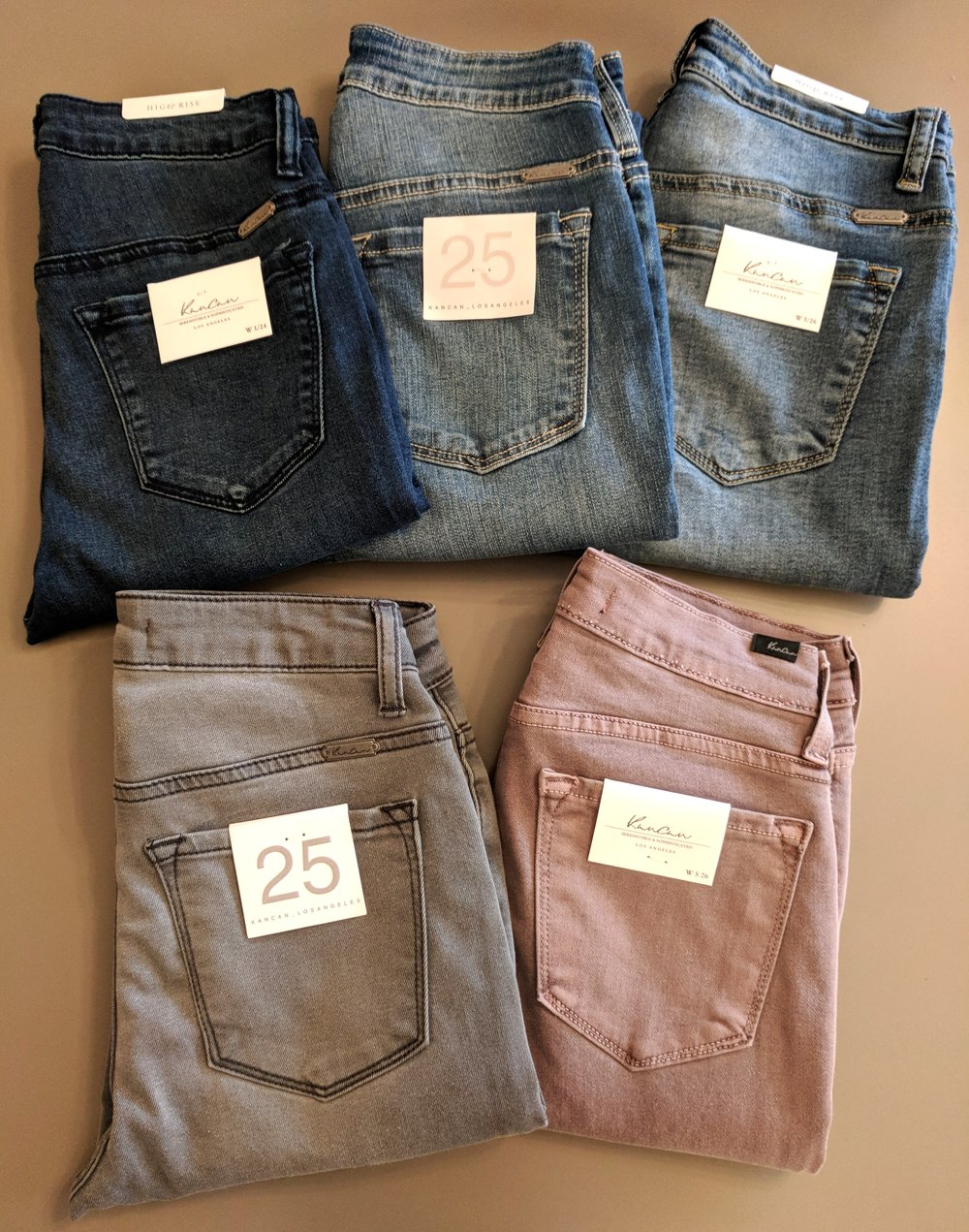 New KanCan High Rise Jeans in wood rose, grey, medium and dark wash demin $52