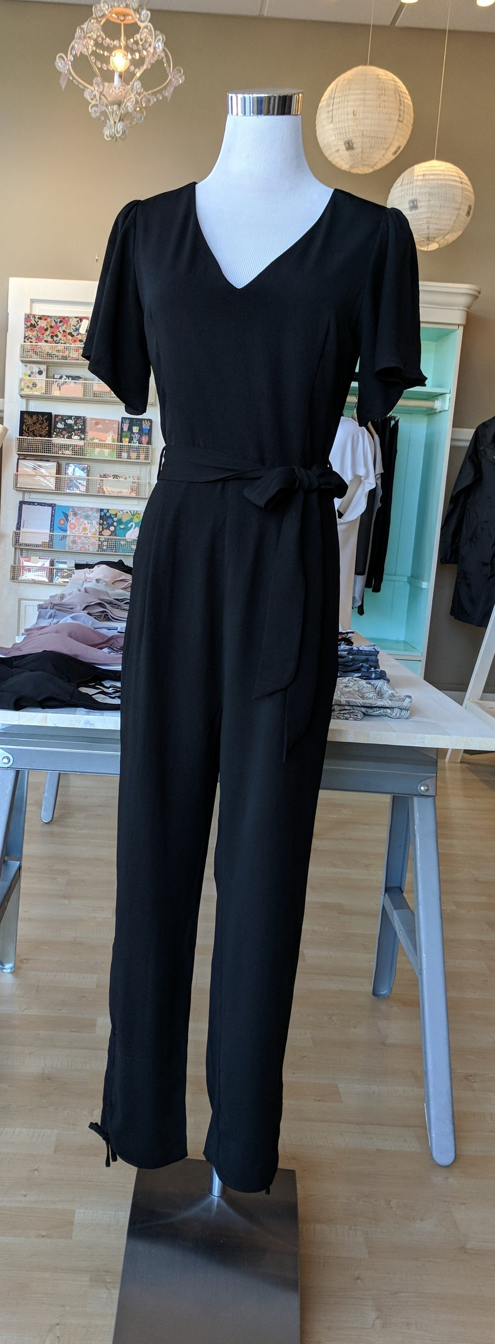 Black v-neck jumpsuit with tie $62