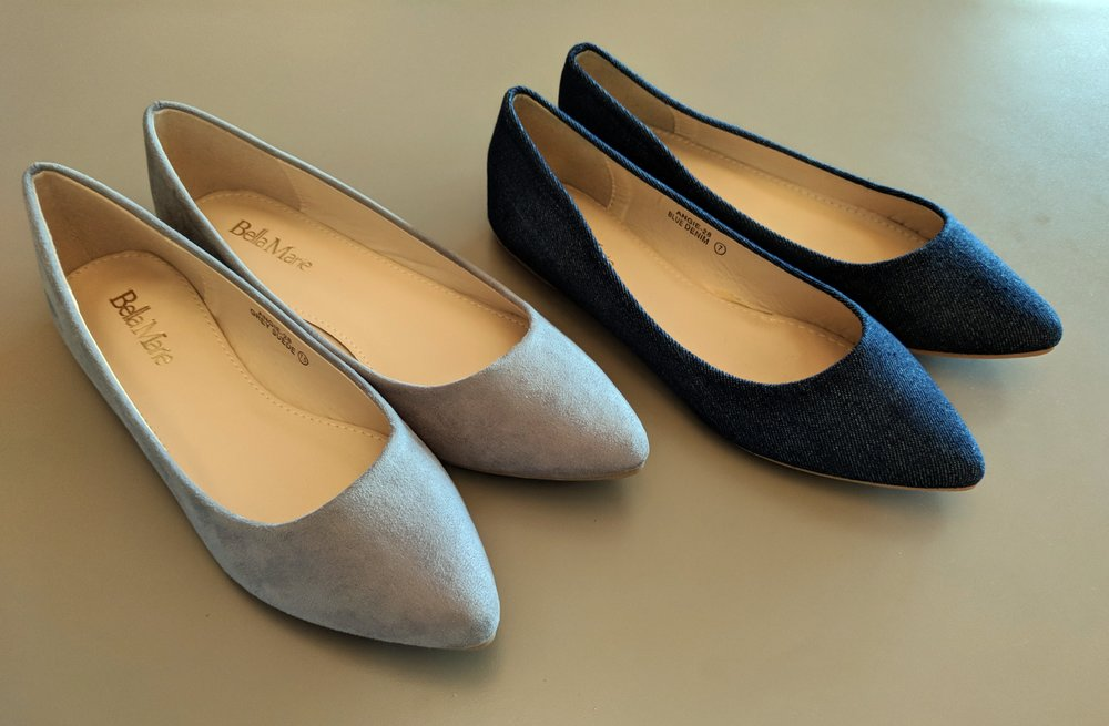 Grey and Denim Flats $28