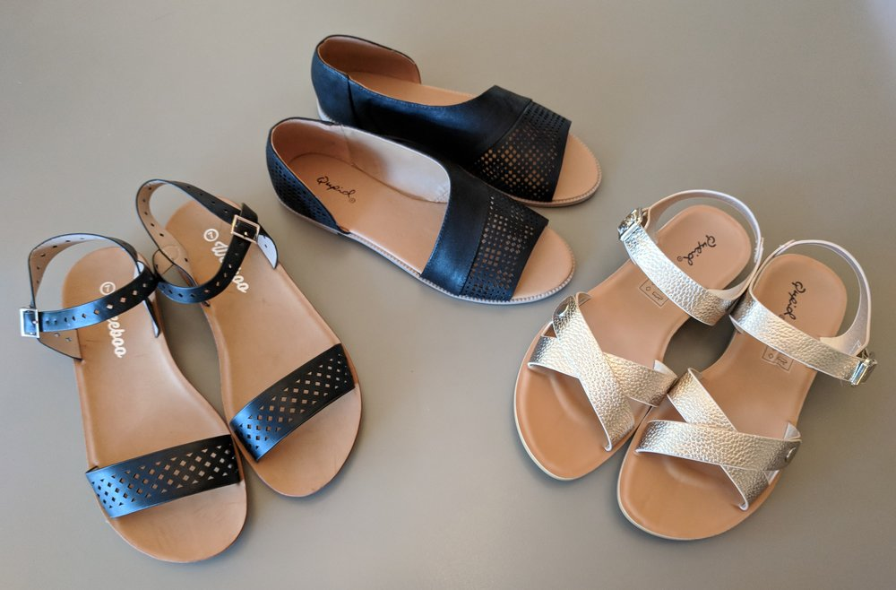 Black strap sandal $28, Black open side sandal $32 and Champagne sandal $28