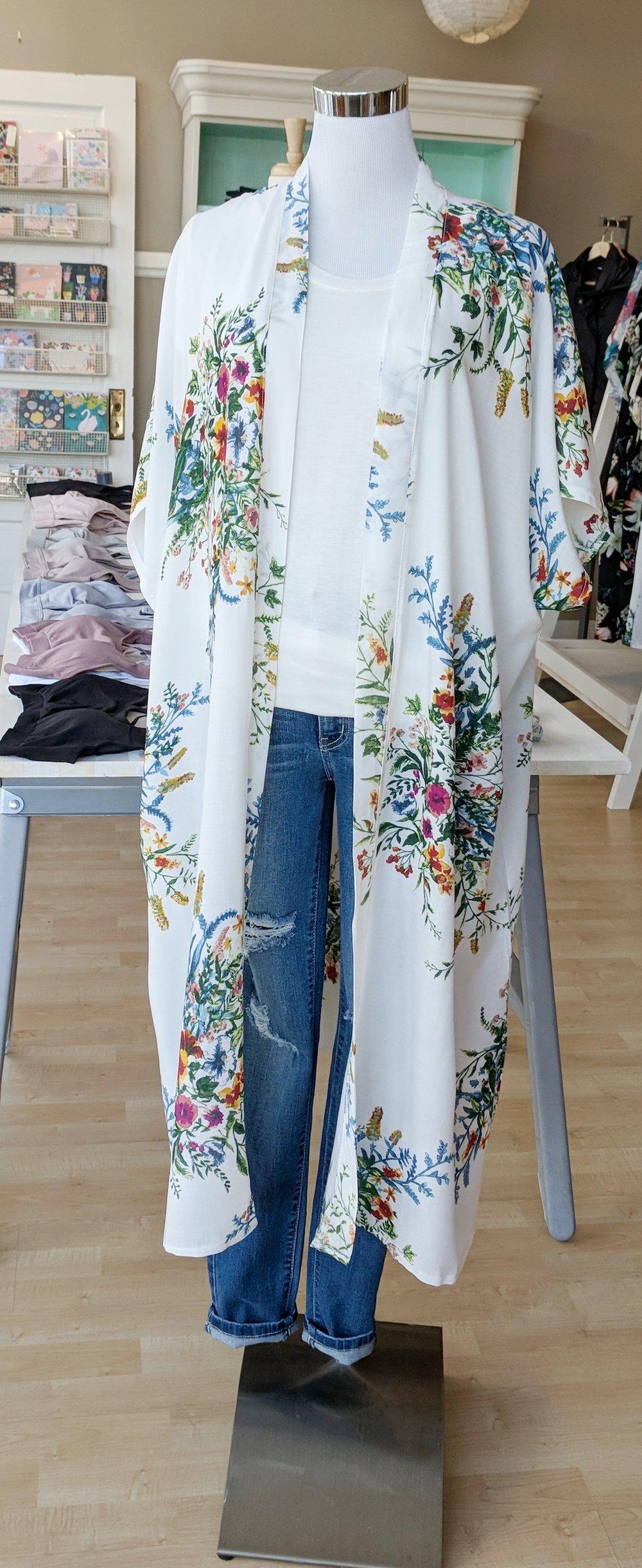 White Spring floral Kimono $34