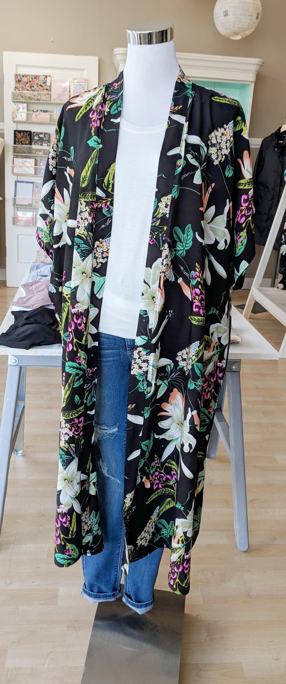Black Floral Kimono $34