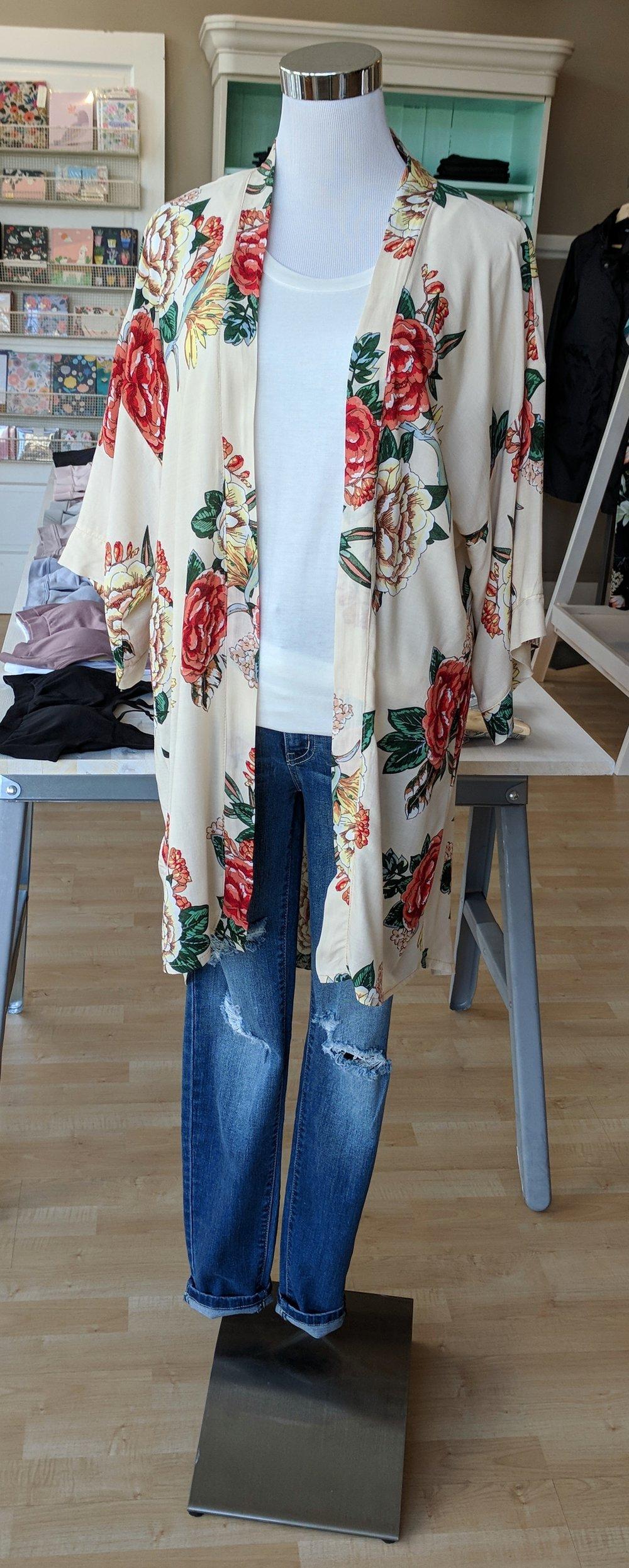 Blush Floral Kimono $34